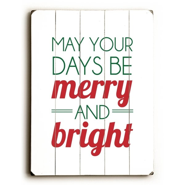 Merry and Bright - Planked Wood Wall Decor by Amanda Catherine