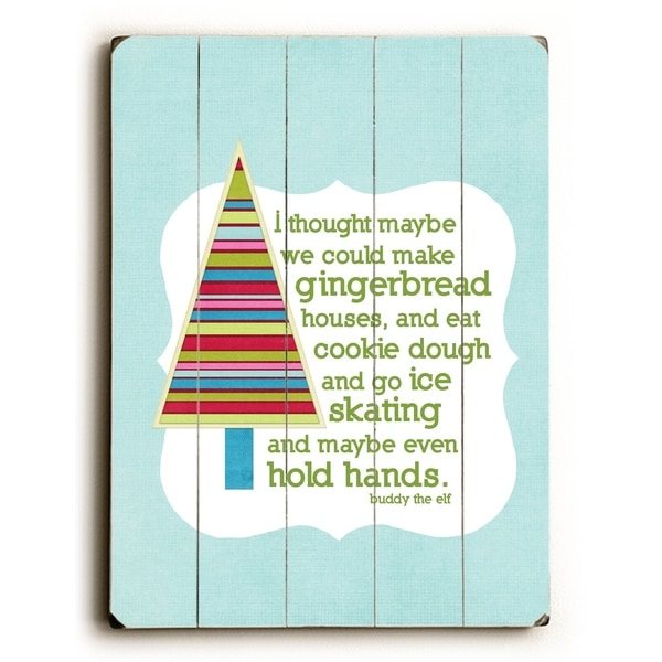 Gingerbread Houses -Blue - Planked Wood Wall Decor by Cheryl Overton