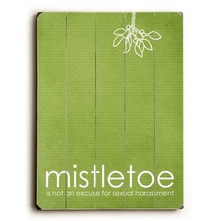Mistletoe - Green -   Planked Wood Wall Decor by Cheryl Overton