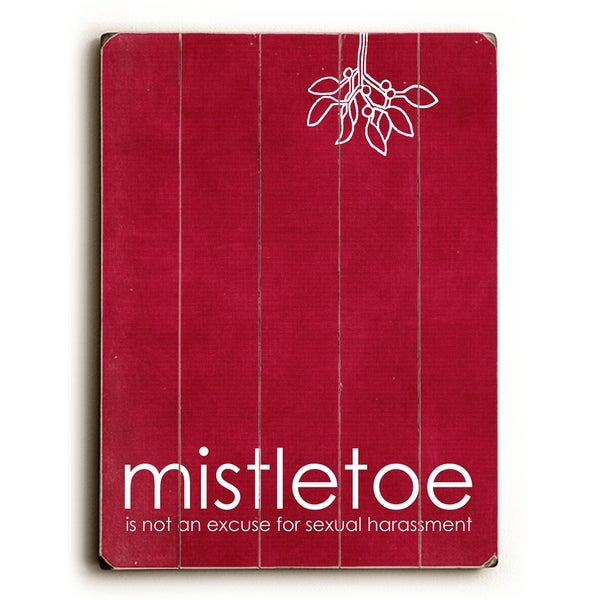 Mistletoe - Red - Planked Wood Wall Decor by Cheryl Overton