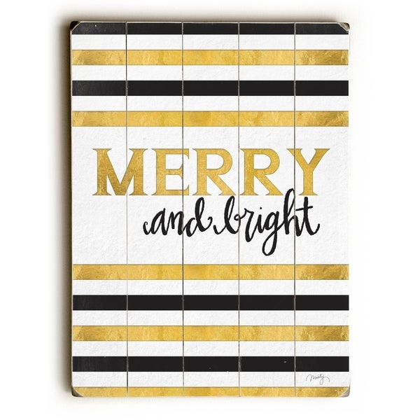 Merry and Bright - Planked Wood Wall Decor by Misty Diller