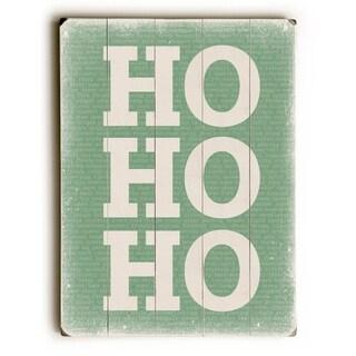 Ho Ho Ho - Green -   Planked Wood Wall Decor by Cheryl Overton
