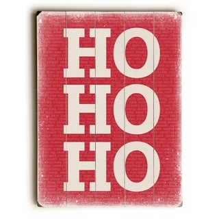 Ho Ho Ho - Red -   Planked Wood Wall Decor by Cheryl Overton