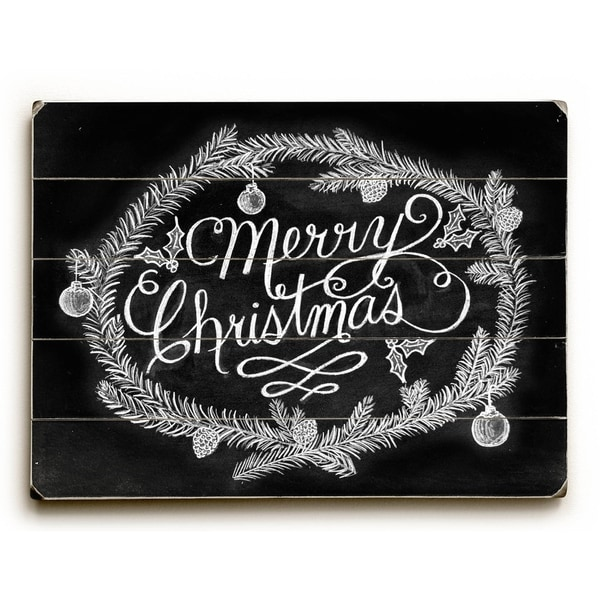 Merry Christmas Wreath - Planked Wood Wall Decor by Robin Frost