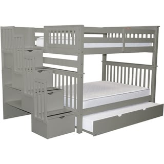 Bedz King Stairway Full-over-full 4-Drawer Grey Brazilian Pine Trundle Bunk Beds