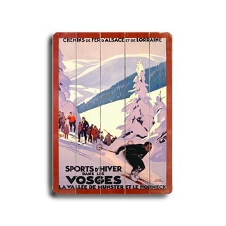 Sports d'Hiver dans les Vosges -   Planked Wood Wall Decor by Roger Broders