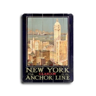 New York City Anchor Ocean Line -   Planked Wood Wall Decor by Posters Please