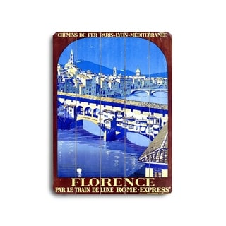 PLM Railway Florence Travel Poster -   Planked Wood Wall Decor by Roger Broders