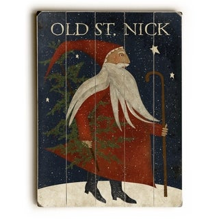 Old St Nick -  Planked Wood Wall Decor by Mainline Art Design