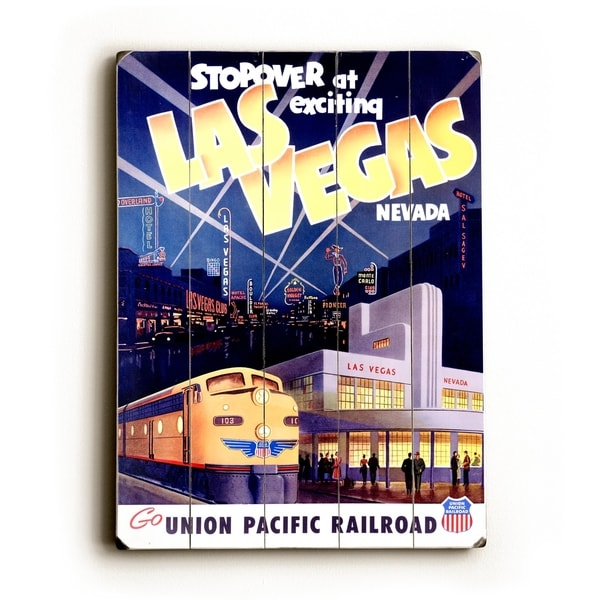 Shop Union Pacific Las Vegas Deco Train - Planked Wood Wall Decor by ...