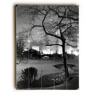 Winter at Night New York Central Park Poster -   Planked Wood Wall Decor by Underwood Photo Archive