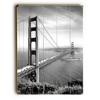 1937 San Francisco Golden Gate Bridge Poster -   Planked Wood Wall Decor by Underwood Photo Archive