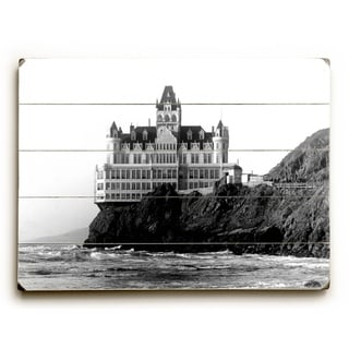 San Francisco Cliff House Hotel -   Planked Wood Wall Decor by Underwood Photo Archive