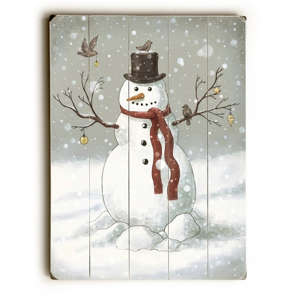 Snowman - Multi Planked Wood Wall Decor by Terry Fan