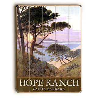 Hope Ranch Beach Santa Barbara Poster -   Planked Wood Wall Decor by Posters Please