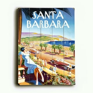 Santa Barbara Beach Resort Poster -   Planked Wood Wall Decor by Posters Please