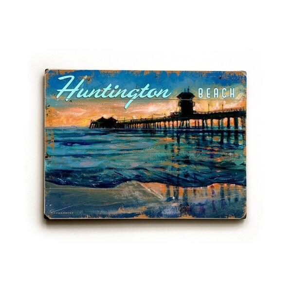 Huntington Beach Pier - Planked Wood Wall Decor by Wade Koniakowsky