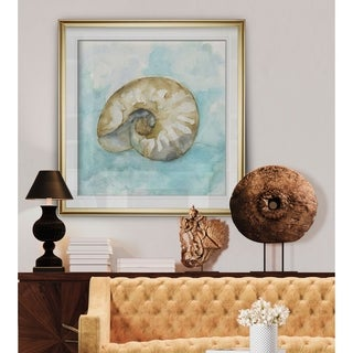 Biscayne Treasure II -Custom Framed Print - blue, white, grey, yellow, green, silver, gold