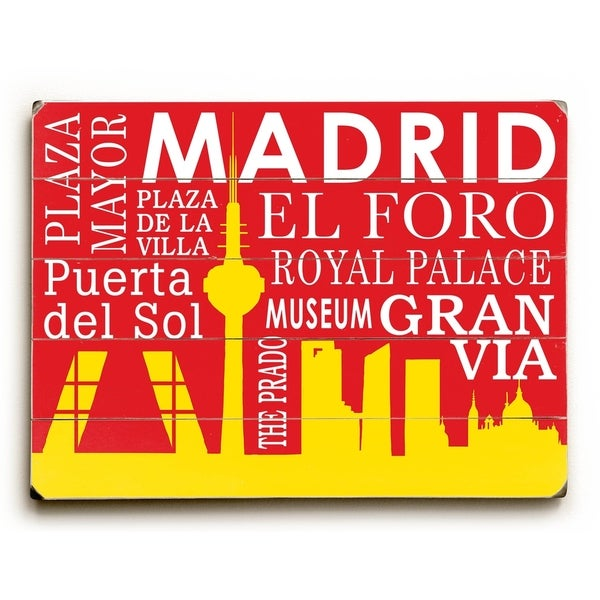 Madrid Silhouette - Planked Wood Wall Decor by Cory Steffen