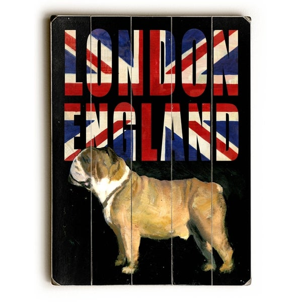 London Bulldog - Planked Wood Wall Decor by Cory Steffen