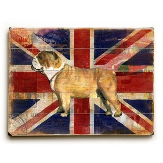 Union Jack Bulldog -   Planked Wood Wall Decor by Cory Steffen