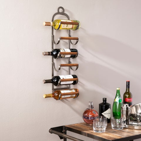 Mallorca Industrial Style Wall Mount Wine Rack - N/A
