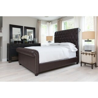 Elements Fine Home Furnishings Hamilton Tall Sleigh Bed in Russet Bonded Leather