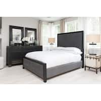 Elements Fine Home Furnishings Tailor Tall Panel Bed in Smoke Fabric