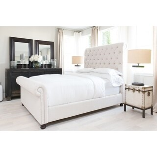 Elements Fine Home Furnishings Hamilton Tall Sleigh Bed in Seashell Fabric