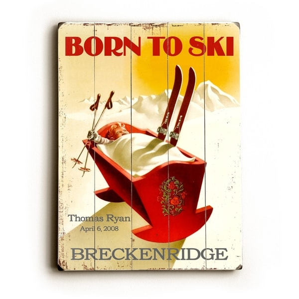 Born To Ski - Planked Wood Wall Decor by Posters Please