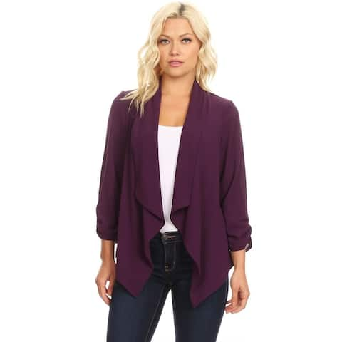 Women's Casual Draped and Ruched Cardigan