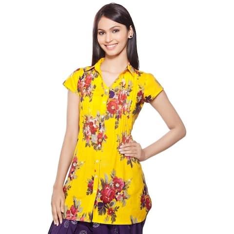 Handmade In-Sattva Women's Short Kurta Tunic Floral Front Pleats