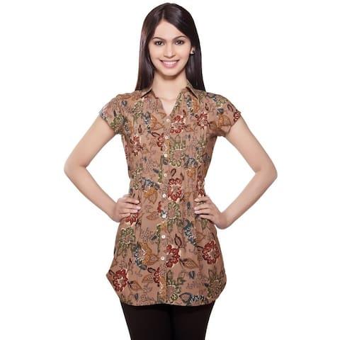 Handmade In-Sattva Women's Short Kurta Tunic Front Pleats & Collar