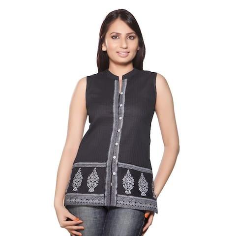 Handmade In-Sattva Women's Short Kurta Tunic -Printed Border