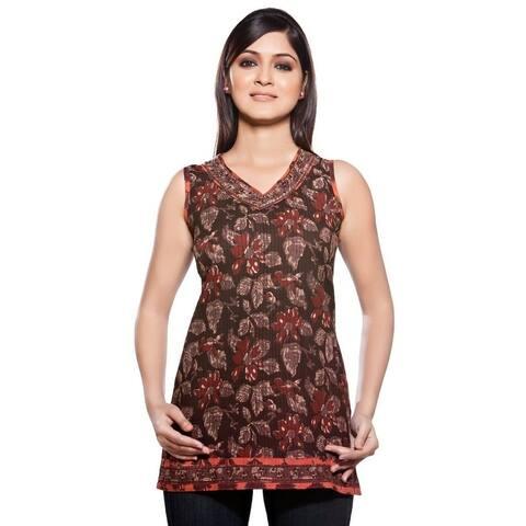 Handmade In-Sattva Women's Short Kurta Tunic Sleeveless