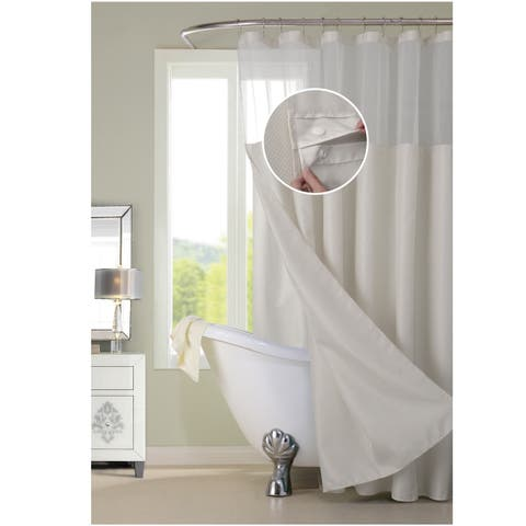Dainty Home Complete Waterproof Shower Curtain with Detachable Liner in Off-White