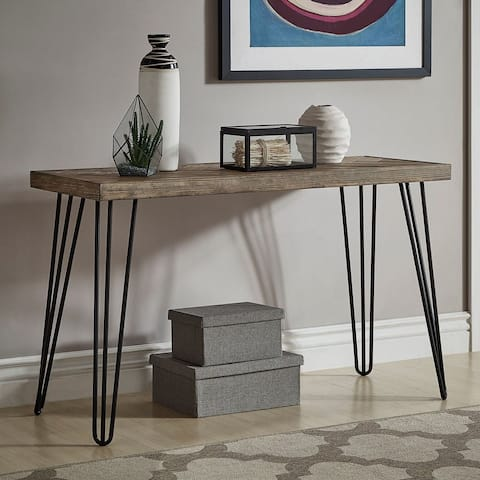 Krew Mid-Century Modern Light Wood and Metal Console Entryway Table by iNSPIRE Q Modern