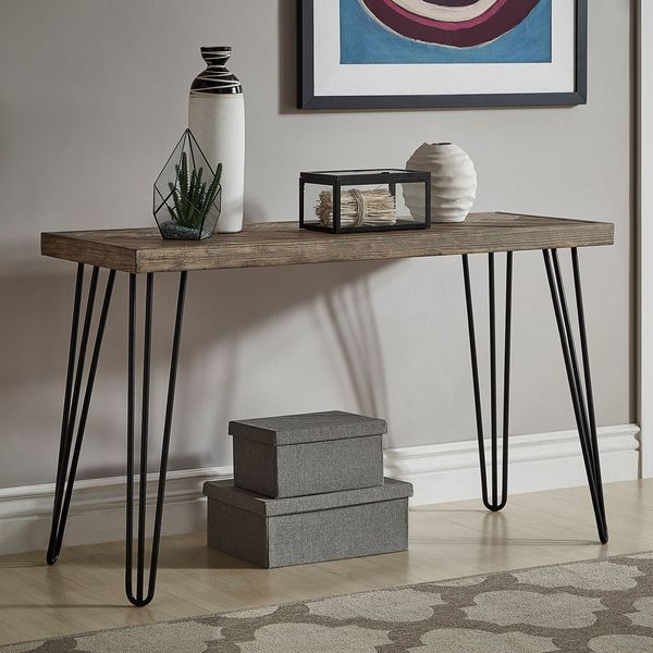 Shop Krew Mid Century Modern Light Wood And Metal Console