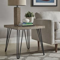 Krew Mid-Century Modern Light Wood and Metal End Table by iNSPIRE Q Modern