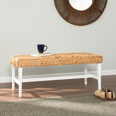 The Curated Nomad Terraza White Woven Coffee Table Bench