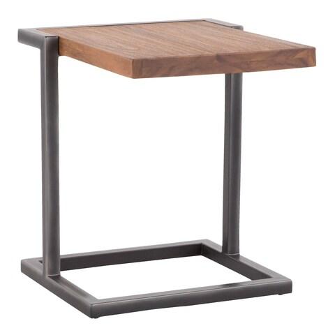 Java Industrial Side Table in Metal and Teak Wood