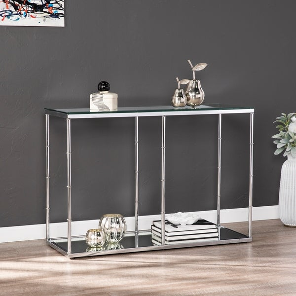 Shop Adelaide Glass Console Table W Mirrored Shelf On