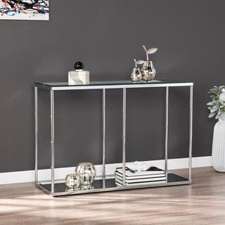 Adelaide Glass Console Table w/ Mirrored Shelf