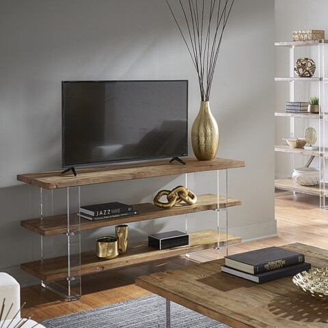 Annika Reclaimed Wood and Acrylic Sofa Table TV Stand by iNSPIRE Q Artisan