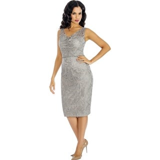Annabelle Women's Blue, Gold, and Silver Sheath Cocktail Dress