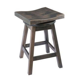 Saddle-Style Swivel Bar Stool in Maple Wood