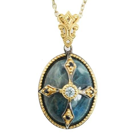 Michael Valitutti Palladium Silver Opaque Green Apatite, Blue Zircon & Blue Sapphire Pendant