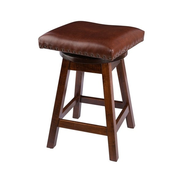 Shop Swivel Bar Stool In Maple Wood With Leather Seat