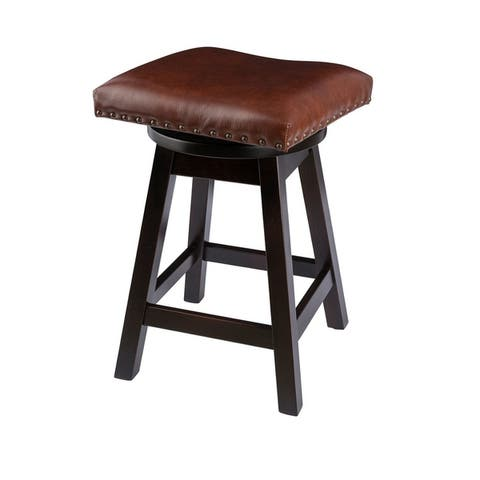 Swivel Bar Stool in Maple Wood with Leather Seat