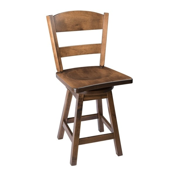 Swivel Bar Stool with Classic Back in Maple Wood. Opens flyout.